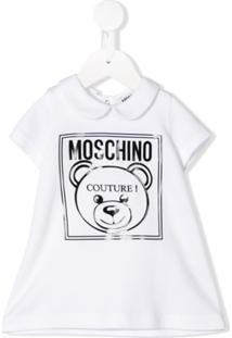 Moschino Kids Vestido Polo Mangas Curtas Com Logo - Branco