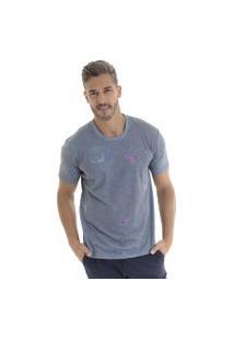 Camiseta Kassis Estampada Azul
