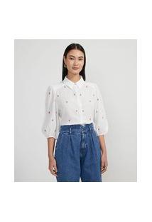 Camisa Em Viscolinho Com Manga 3/4 Bufante Com Moranguinhos Bordados | A-Collection | Branco | Gg
