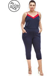 6354d052fa0275 Calça Melinde Plus Size Capri Conforto Azul Marinho