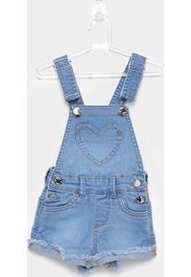 Jardineira Jeans Infantil Milon C/ Elastano Feminina - Feminino-Azul