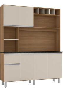 Cozinha Compacta 6 Portas E 1 Gaveta Alice-Poliman - Carvalho / Off White