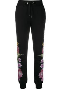 Philipp Plein Calça Esportiva Com Estampa Floral - Preto