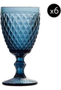 Jogo De Taças Para Água Bico De Abacaxi- Azul- 6Pçs