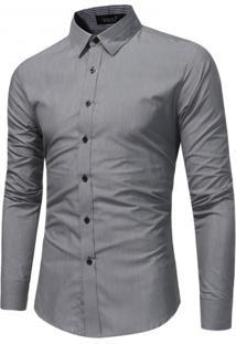 Camisa Masculina Slim Social Manga Longa - Cinza M