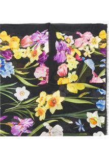 Dolce & Gabbana Cachecol Com Estampa Floral De Cashmere - Preto