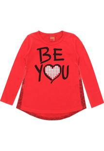 Camiseta Kyly Menina Lettering Vermelha