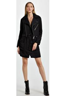Jaqueta De Alfaiataria Com Vestido De Viscose Destacável Cléo Preto