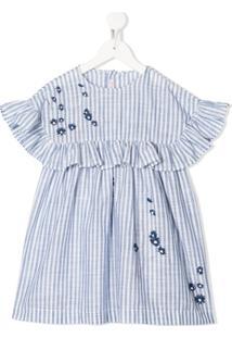 Il Gufo Vestido Com Listras E Acabamento De Babados - Azul