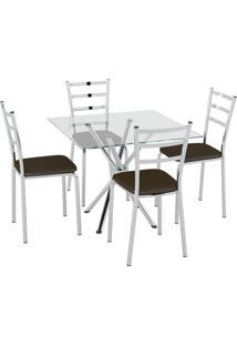 Conjunto Mesa Tampo Vidro C/ 4 Cadeiras Vinil Cacau/Cromado Pozza