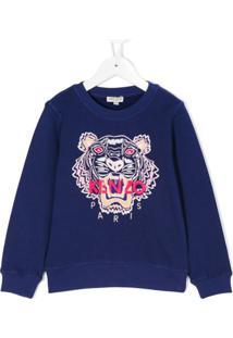 Kenzo Kids Blusa De Moletom 'Tiger' - Azul