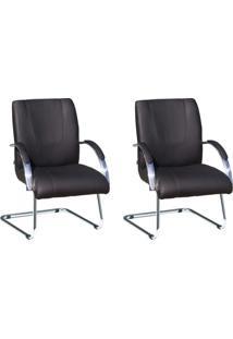 Conjunto De 2 Cadeira De Escritório Master Fixa Preto