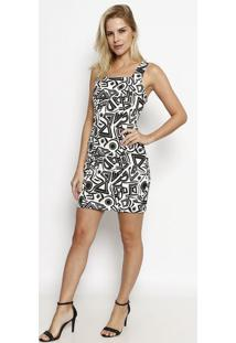 Vestido Texturizado - Branco & Pretomoiselle