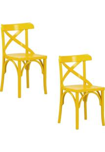 Kit 2 Cadeiras Decorativas Crift Amarelo - Gran Belo