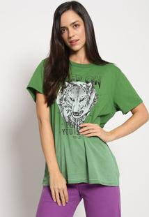"Camiseta ""Lobos"" - Verde & Preta - Colccicolcci"