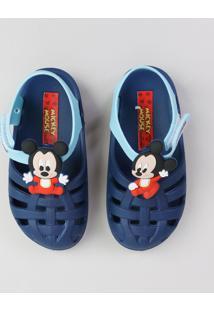 Sandália Infantil Mickey Com Velcro Azul Escuro