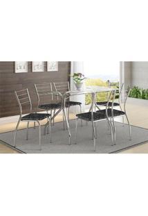 Mesa 387 Com Vidro Incolor Cromada Com 6 Cadeiras 1700 Fantasia Preto Carraro