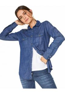 Camisa Jeans Recortes Western