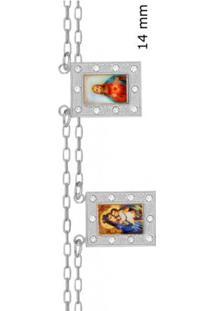 Escapulario Jesus E N.Sra Do Carmo Com Dez Pedras Strass - Unissex-Prata