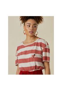Amaro Feminino T-Shirt Folhagem Tucano, Listras Vermelho