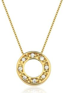 Colar Toque De Joia Círculo Com Zircônias Ouro Amarelo - Feminino-Dourado