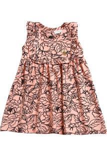 Vestido Infantil Estampa Floral E Pingente Marisa