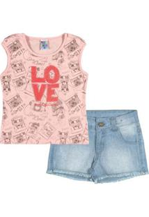 Conjunto Infantil Menina Cotton - Feminino-Rosa