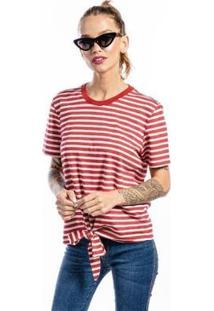 Camiseta Cia Gota Listrada Nózinho Feminina - Feminino-Branco