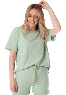Camiseta Feminina Biamar Com Bolso Verde Claro - U