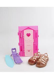 Sandália Infantil Barbie Com Brilho E Casa De Praia Dourada