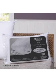 Travesseiro Realce Com Zíper- Branco- 70X50Cm- Ssultan