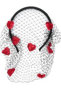 Red Valentino Headband Com Corações - Preto