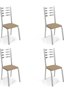 Conjunto Com 4 Cadeiras De Cozinha Alemanha Cromado E Capuccino