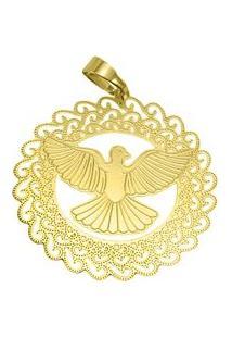 Pingente Espirito Santo Tudo Joias Folheado A Ouro 18K - Feminino-Dourado