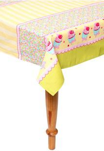 Toalha De Mesa Teka Basic Cupcake Amarelo
