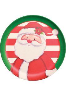 Prato Para Sobremesa Papai Noel- Vermelho & Branco- Cromus