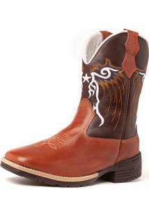 Bota Fran Boots Texana Country Cano Longo Marrom Cowboy 742