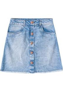 Saia Jeans Infantil Gloss Em Tecido - Feminino-Azul