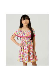 Vestido Infantil Open Shoulder Estampado Marisa Tam 4 A 10