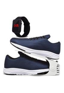 Kit Tênis Esportivo Caminhada Com Organizador E Relógio Led Dubuy 1108Db Azul