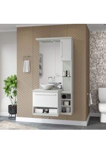 Gabinete Para Banheiro Sem Cuba Com Espelheira Arezzo Siena Móveis Milano/Branco