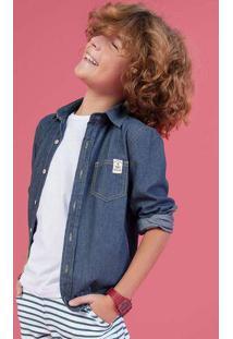 Camisa Jeans Infantil Menino Manga Longa Hering Kids