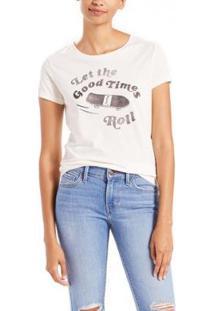 Camiseta Levis Slim Crew Neck Feminina - Feminino-Branco