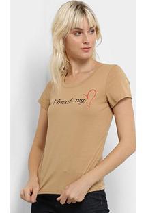 Camiseta Top Modas Don'T Break My Heart Feminina - Feminino-Marrom