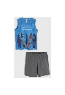 Pijama 2Pçs Malwee Liberta Curto Infantil Surf Azul/Cinza