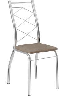 Kit 2 Cadeiras 1710 Tecido Móveis Carraro Marrom