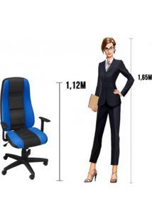 Conjunto Mesa Gamer Pro 5 Nichos E Cadeira Gamer Onix Presidente Siena Móveis Preto/Azul