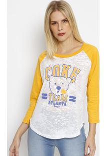 "Camiseta ""Cokeâ® Team Atlanta""- Branca & Amarela- Coccoca-Cola"