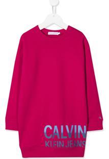 Calvin Klein Kids Vestido De Algodão Orgânico Com Estampa De Logo - Rosa