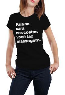 Camiseta Hunter Fala Na Frente, Nas Costas Faz Massagem Preta
